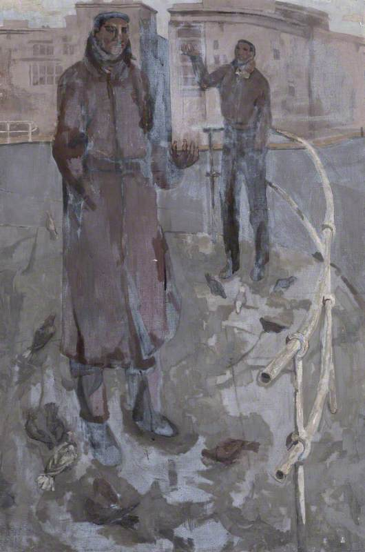 Two Figures on Street Corners