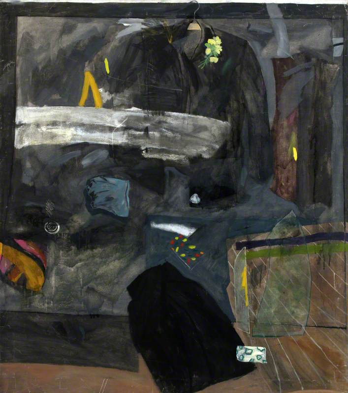 Composition with Hanging Black Jacket and Skirt