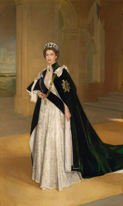 HRH Queen Elizabeth II Wearing the Robes of the Order of the Thistle