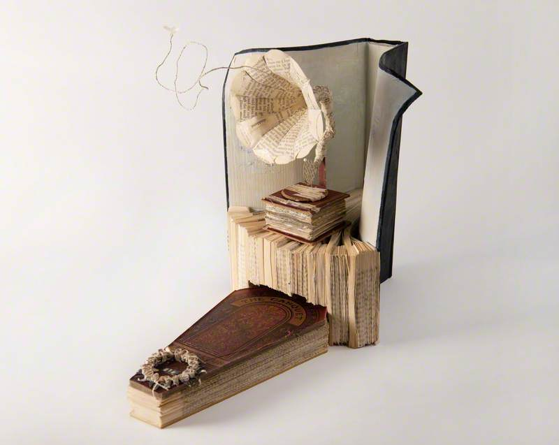 Book Sculpture of a Gramophone and a Coffin Fashioned from a Copy of Edinburgh-Based Author Ian Rankin's Book 'Exit Music'