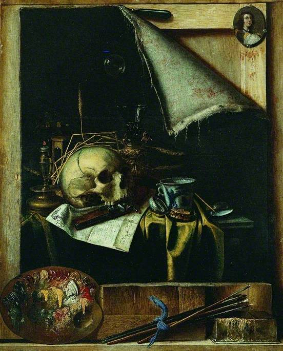 Trompe l'oeil Studio Wall with a Vanitas Still Life