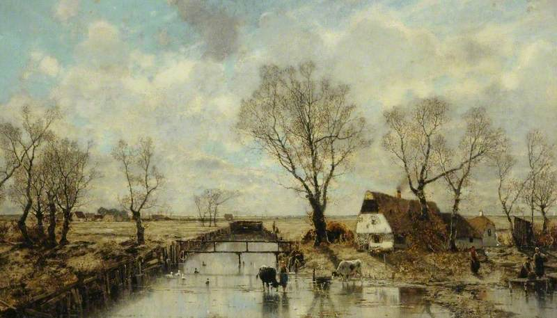 Dutch Landscape with Trees and Cottages by the Water