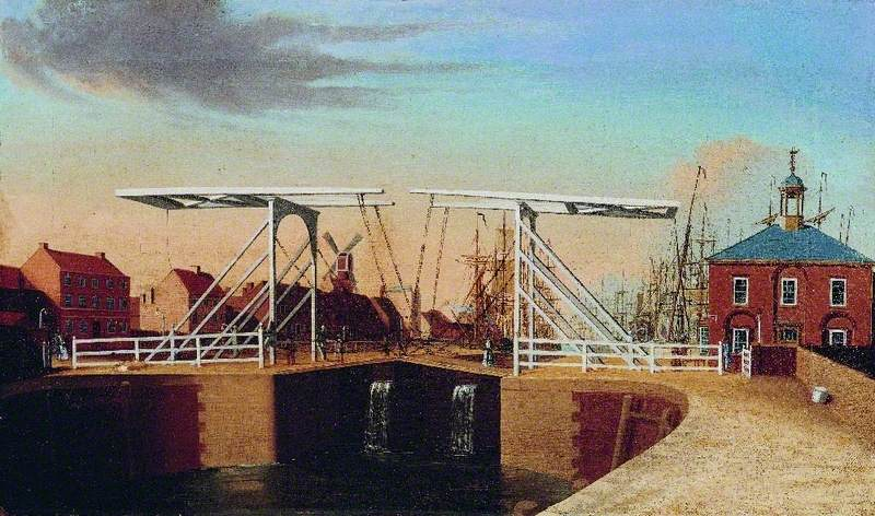 An East View of the Bridge and New Dock at Kingston upon Hull