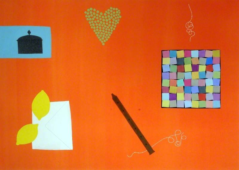 Still Life with Patchwork Pieces, Whistle and Peas