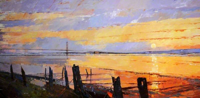 Landscape Scene Showing the Humber Bridge in the Background, East Riding of Yorkshire