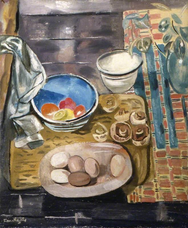 Still Life: Eggs, Tomatoes and Mushrooms