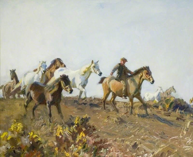 'Shrimp' Leading Ponies across a Norfolk Common