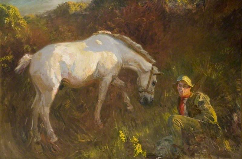 The Grey Pony, Augereau, in a Sandpit with Groom, George Curzon