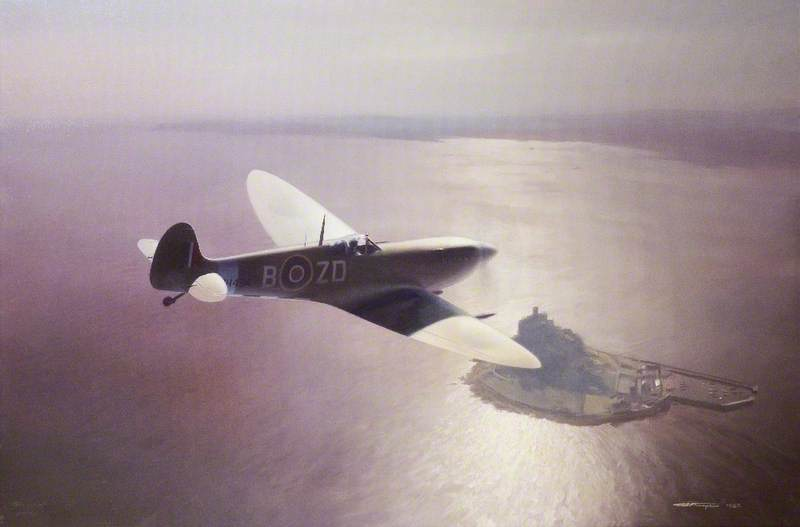 Supermarine Spitfire MkIX MH434, over St Michael's Mount, Cornwall