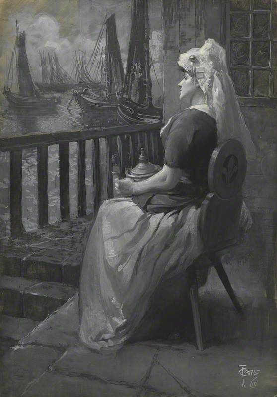 Seated Woman Watching Ships