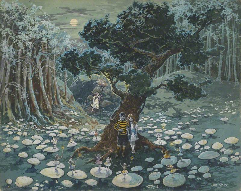 Illustration – Two Children and Fairies on Toadstools
