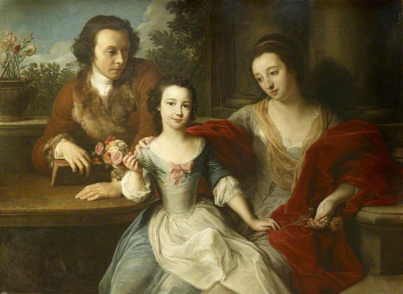Thomas Barrett-Lennard (1717–1786), Later 17th Lord Dacre, with his Wife, Anna Maria Pratt (d.1806), and their Daughter, Barbara Anne