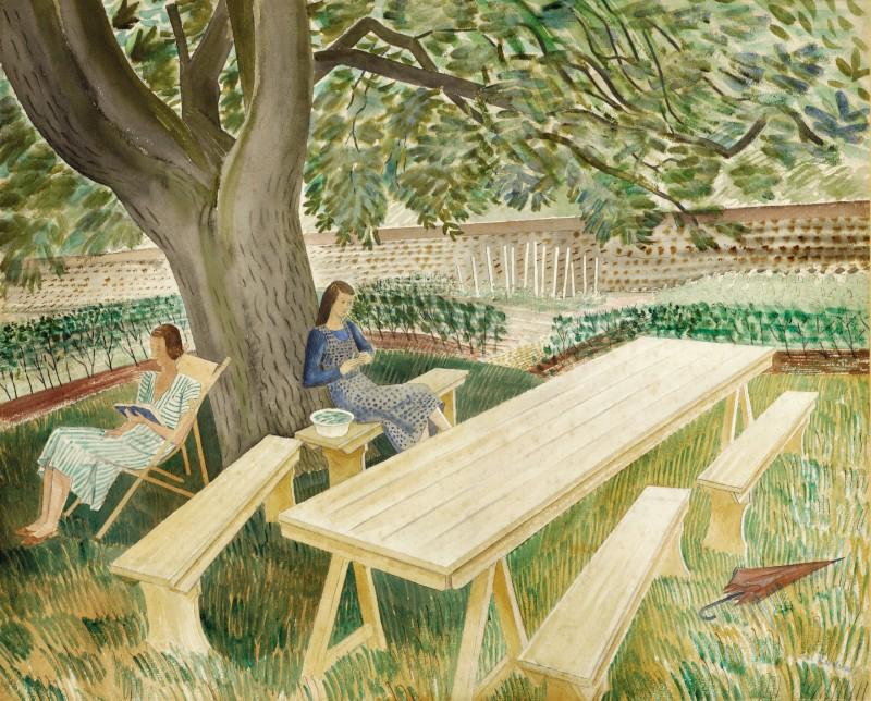 Two Women Sitting in a Garden