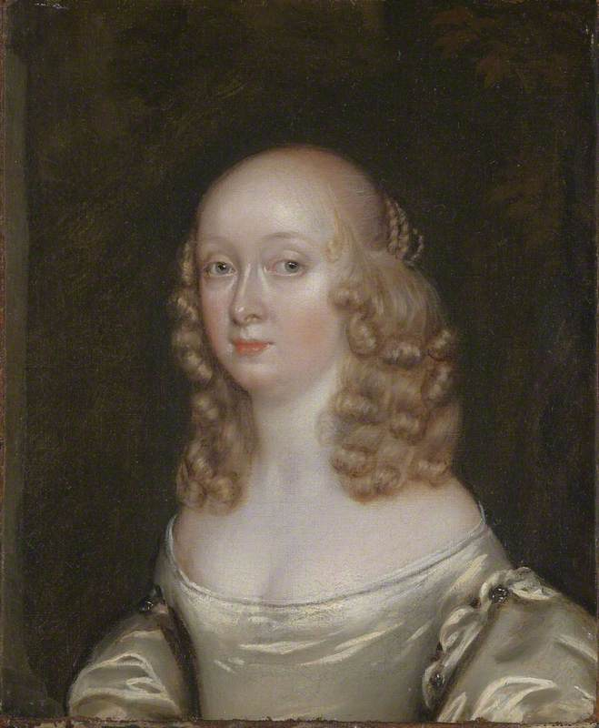 Portrait of a Lady Wearing an Oyster Satin Dress