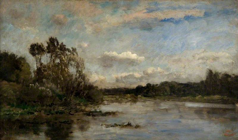 River Scene with Wooded Banks