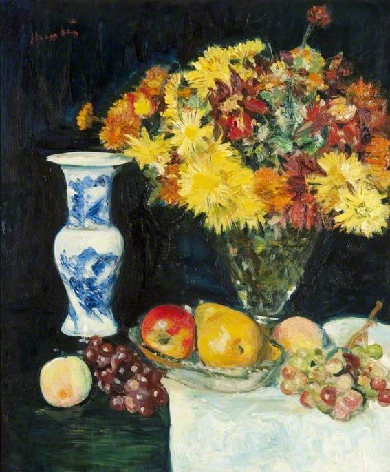 Flowers in a Vase and Fruit