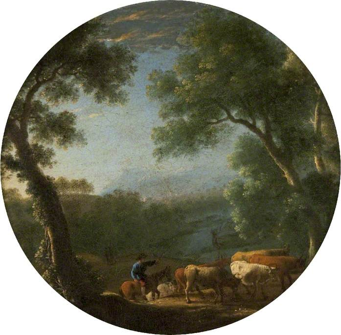 Wooded Landscape with a Horseman Driving Cattle
