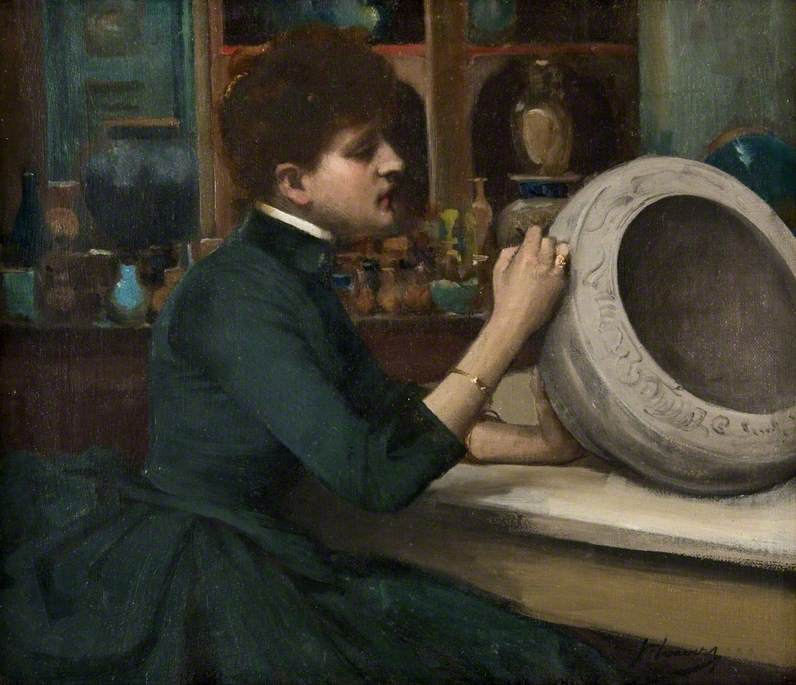 Woman Painting a Pot