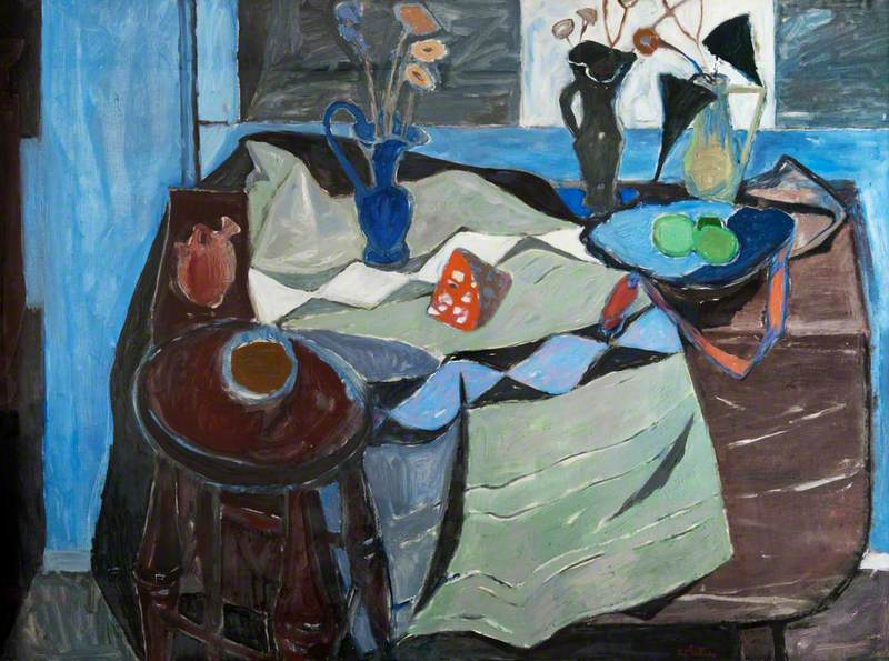 Still Life, Blue and Brown