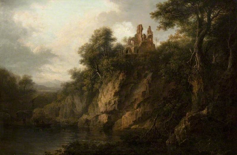 A Rocky Wooded Landscape with a Ruined Castle by a Loch