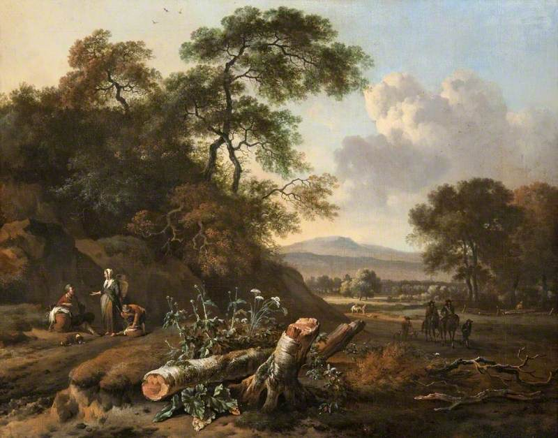 Landscape with a Fallen Tree, Peasants and Huntsmen