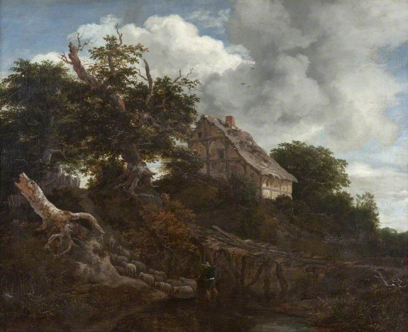 Landscape with a Cottage, Bridge and Sheep