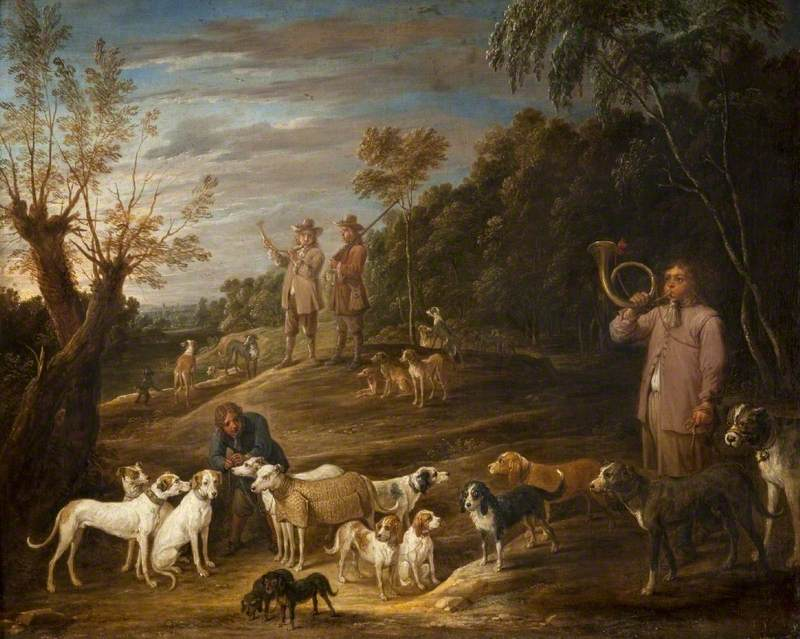 Landscape with Huntsmen and Dogs