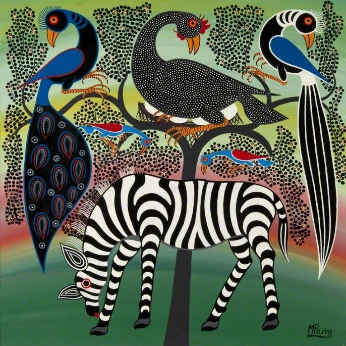 Zebra and Birds