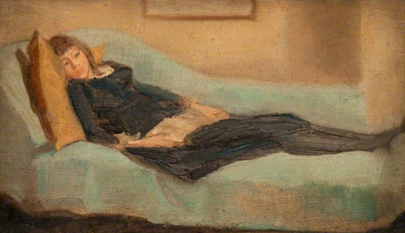 Girl Resting on a Sofa