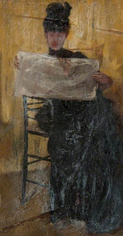 Ethel Philip Reading a Newspaper