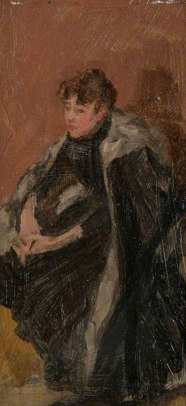 Seated Girl in a Fur-Trimmed Cape with Crossed Hands