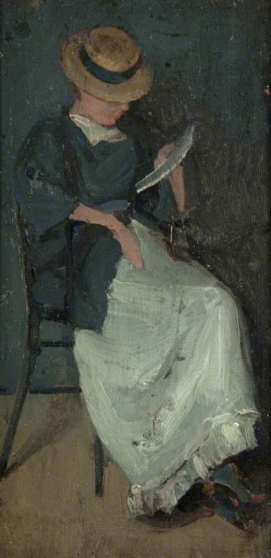 Woman in a Straw Hat Reading a Letter