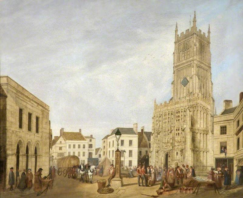 Cirencester Church and Market Place, Gloucestershire