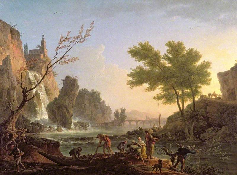 Fishermen in a Landscape with a Cascade and a Bridge