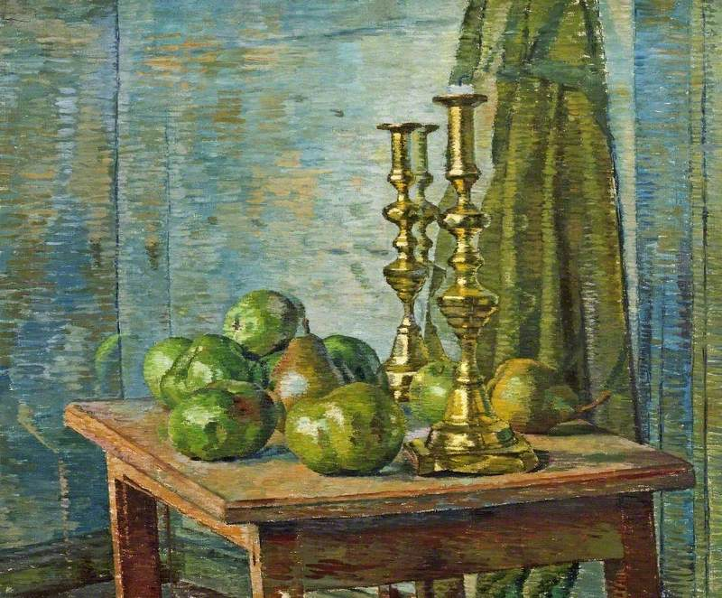 Brass Candlesticks and Pears
