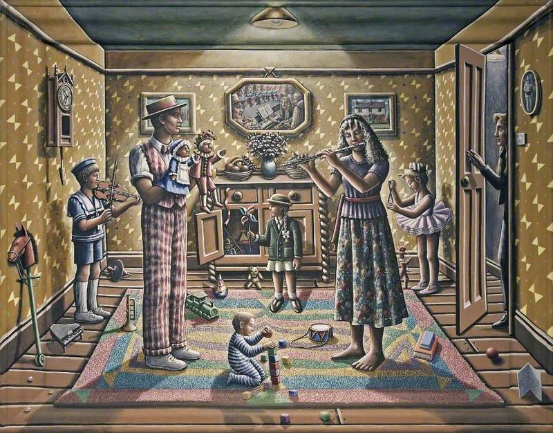 Portrait of the Artist Watching Her Two Children Grow