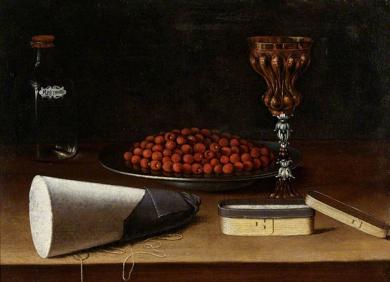 Still Life of a Bowl of Strawberries, Standing Cup, a Bottle of Rose Water, a Sugarloaf and a Box of Sugar