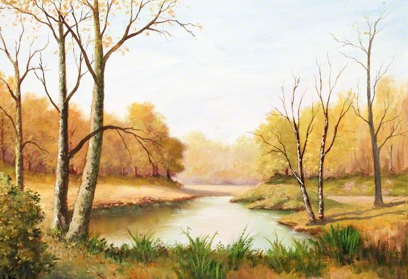 Autumn Scene with a Pond