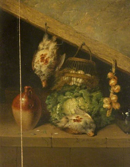 Still Life of a Hanging Bird, a Jar and a Cabbage