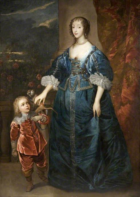 Henrietta Maria (1606–1669), and Sir Jeffrey Hudson (1619–c.1682), Court Dwarf with His Pet Monkey