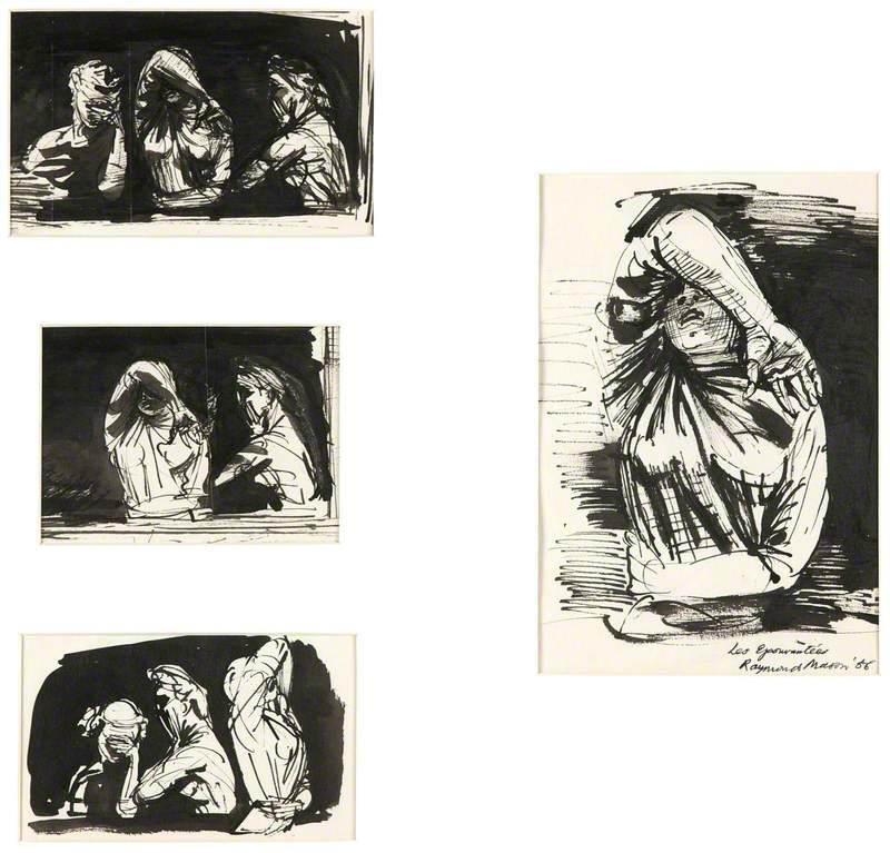 Four Studies for 'Les epouvantees'