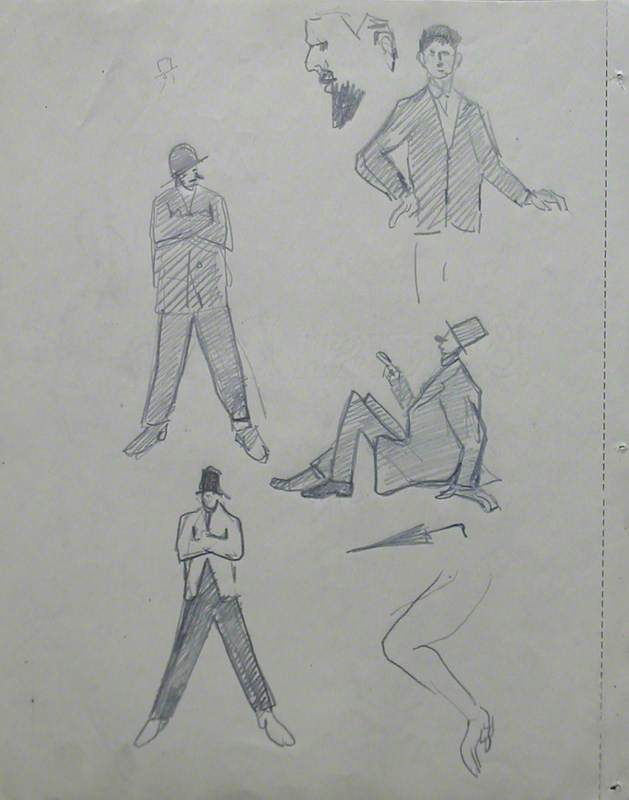 Figure Studies: Head and Umbrella & Two Scenes at a Football Match