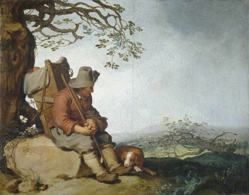 A Man with a Dog in a Landscape