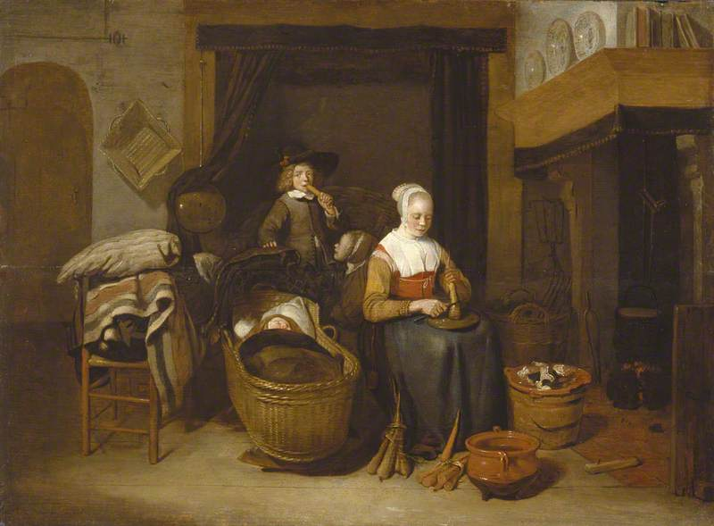 A Family Seated Round a Kitchen Fire