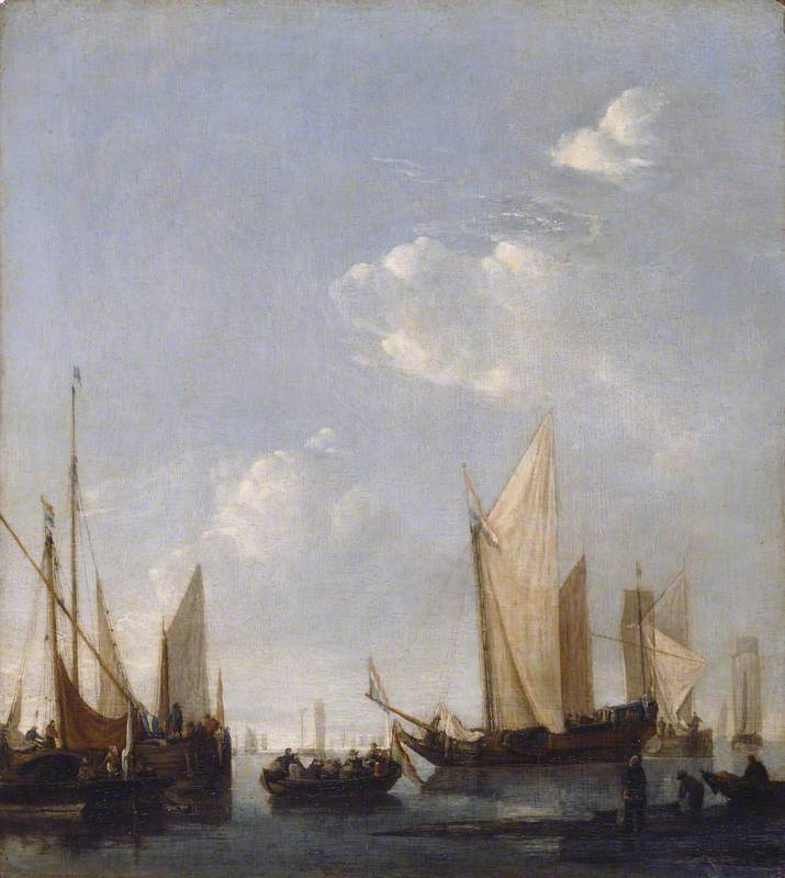 Shipping Anchored in a Calm Sea