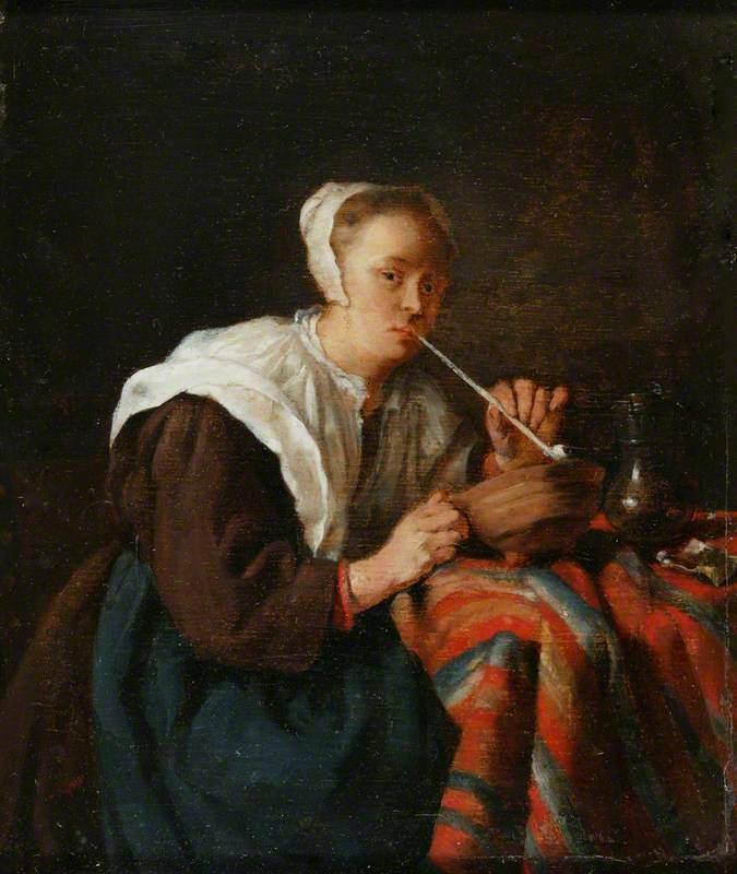 A Woman Seated Smoking a Pipe
