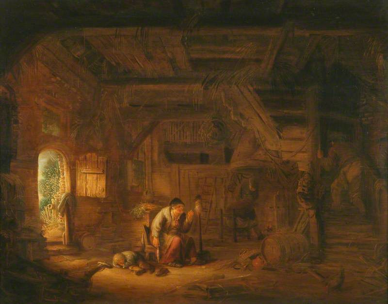 Interior of a Barn with an Old Woman at a Distaff