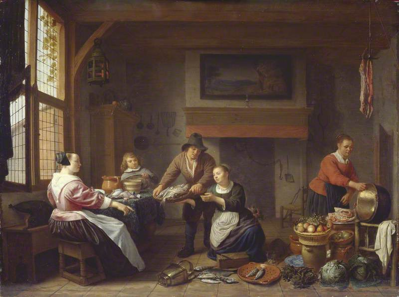 Kitchen Interior with a Man Bringing Fish for Sale