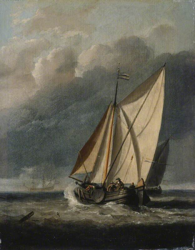 Seascape: With a Yacht Sailing under a Rainy Sky