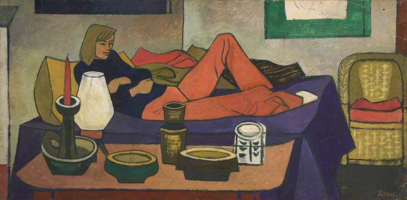 Woman Reclining on Bed